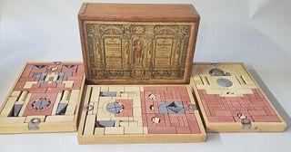 Antique Richter's Anchor Blocks Stone Building Boxes Set