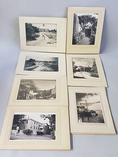 7 Antique James Francis Barker Matted Black and White Photographs