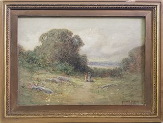 George William Whitaker Antique Oil on Canvas Landscape Painting