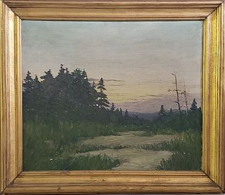 """John Haapanen Oil on Canvas, """"Sunset in the Marsh"""""""
