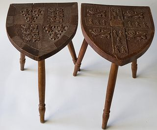 Pair of Antique English Carved Walnut Coat-of-Arms Stools