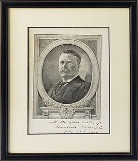 Antique Theodore Roosevelt Signed Black and White Etching, 1906