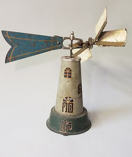 Vintage Tole Windmill Weathervane Toy