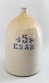 Antique ES & B 5 Gallon Stoneware Jug New Brighton PA