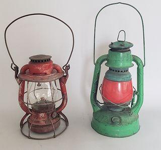 Two Antique Dietz Vesta New York Railroad Lanterns