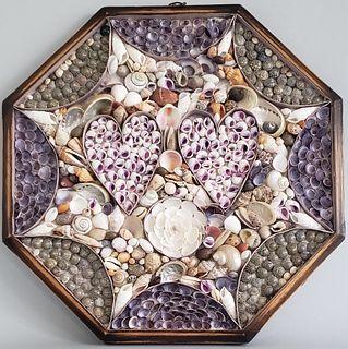 Twin Hearts Open Sailor's Valentine, 19th Century