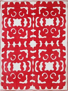 Vintage Red and White Hawaiian Quilt, circa 1920s