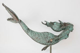 Copper Mermaid Weathervane, circa 1990