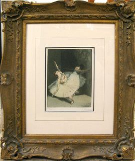 """Auguste Brouet, """"A La Barre"""" Etching and aquatint 1923"""