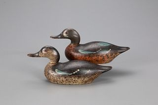 "Mackey ""Double-Blue"" Teal Pair Decoy, Mason Decoy Factory (1896-1924)"