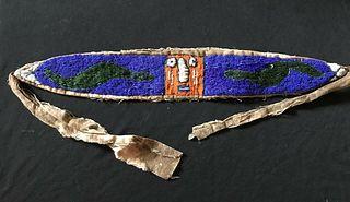 African Beaded Belt, Bead Work on Fabric, Antique