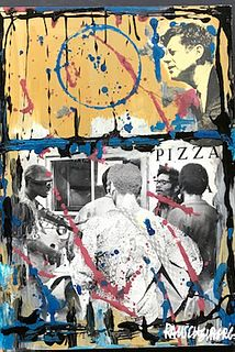 "Robert Rauschenberg  ""JFK"" Collage and Acrylic on Board, signed"