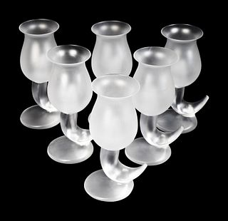 A Set of Six Frank Gehry for Swid Powell Frosted and Colorless Glass Goblets Height 7 1/2 inches.