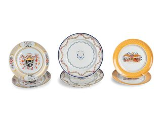 A Pair of Chinese Export Porcelain Armorial Dishes and Four Mottahedeh Porcelain PlatesDiameters 10, 8 3/4 and 8 3?4inches.