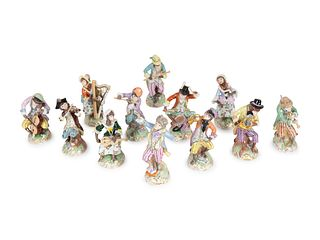 A Dresden Porcelain Twelve-Piece Monkey Band Height of tallest 7 inches.