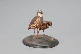 Exceptional Bobwhite Quail Pair, A. Elmer Crowell (1862-1952)