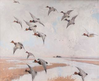 Frank W. Benson (1862-1951) Redheads in Flight