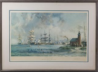 """John Stobart Limited Edition Lithograph """"Nantucket the Celebrated Whaling Port in 1835"""""""