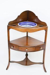 English Mahogany Corner Washstand, circa 1820