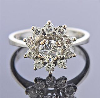 Mid Century 18K Gold Diamond Cluster Ring