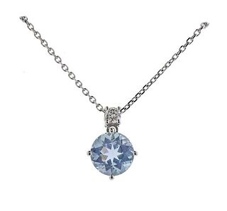 14K Gold Diamond Aquamarine Pendant Necklace