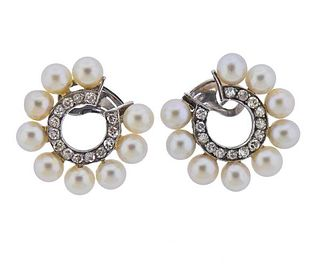 Continental 18K Gold Diamond Pearl Earrings