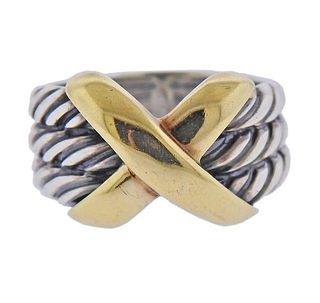 David Yurman Silver 14k Gold X Cable Ring