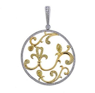 Michael Beaudry Platinum Gold Fancy White Diamond Pendant