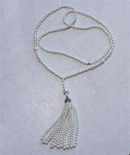 Tiffany & Co  Ziegfeld Silver Pearl Tassel Necklace