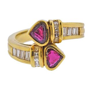 18K Gold Diamond Bypass Ruby Ring