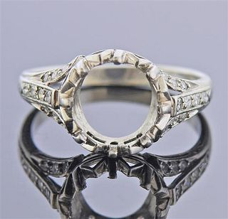 Mid Century Platinum Diamond Ring Mounting
