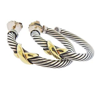 David Yurman Silver 14K Gold X Hoop Cable Earrings