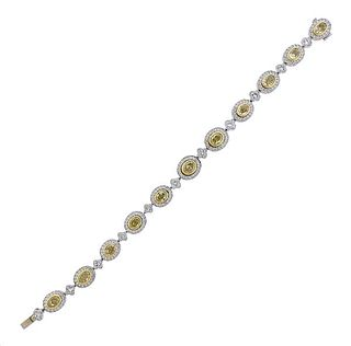 Michael Beaudry Platinum 18K Gold Fancy White Diamond Bracelet
