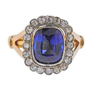 18k Gold Platinum Diamond Blue Stone Ring