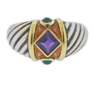 David Yurman Renaissance Silver 14K Gold Amethyst Chrysoprase Ring