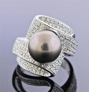 18k Gold Tahitian Pearl Diamond Cocktail Ring