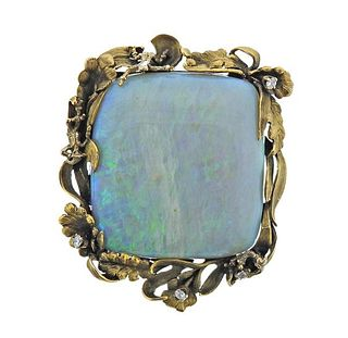 Antique 18K Gold Diamond 18.30ct Opal Brooch Pin