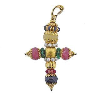 18k Gold Ruby Sapphire Emerald Pearl Cross Pendant