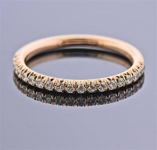 14k Rose Gold Diamond Half Wedding Band Ring