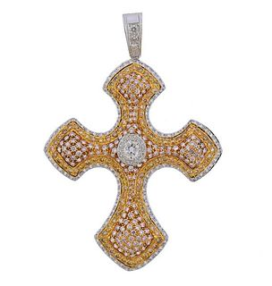 18k Gold Yellow White Pink Diamond Cross Pendant