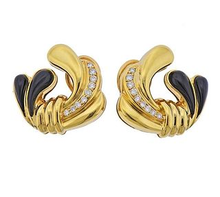 Loewe 18k Gold Diamond Onyx Earrings