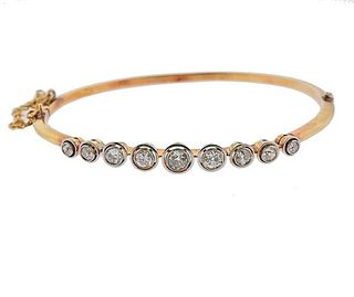 Antique 18K Gold Platinum Diamond Bangle Bracelet