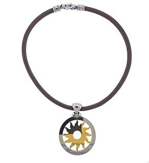 Bvlgari Bulgari Tondo 18k Gold Steel Sun Pendant Cord Necklace