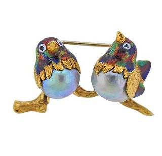 18k Gold Pearl Enamel Bird Brooch Pin