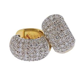 18K Gold Platinum Diamond Huggie Earrings