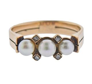 Antique Victorian 14K Gold Diamond Pearl Ring