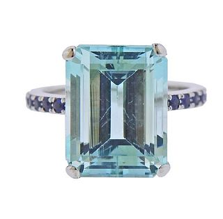 14K Gold 10.5ct Aquamarine Sapphire Ring