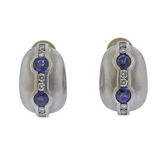 Kieselstein Cord Platinum Diamond Sapphire Earrings