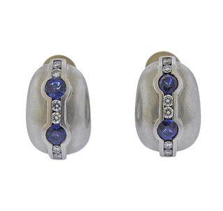 Kieselstein Cord Platinum Diamond Sapphire Earrings