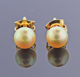 Mikimoto 18k Gold 6.2mm Pearl Stud Earrings